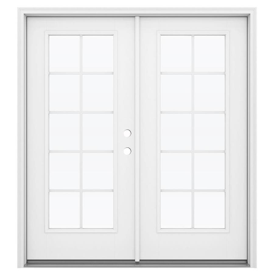 ReliaBilt 71.5-in Grilles Between the Glass Primed Fiberglass French Inswing Patio Door