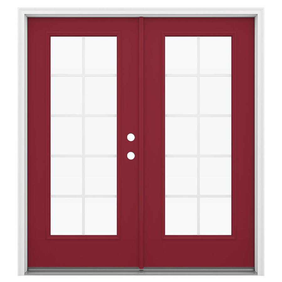 ReliaBilt 71.5-in Grilles Between the Glass Roma Red Fiberglass French Inswing Patio Door