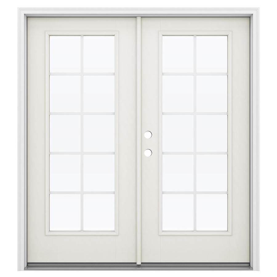ReliaBilt 71.5-in Grilles Between the Glass Sandy Shore Fiberglass French Inswing Patio Door