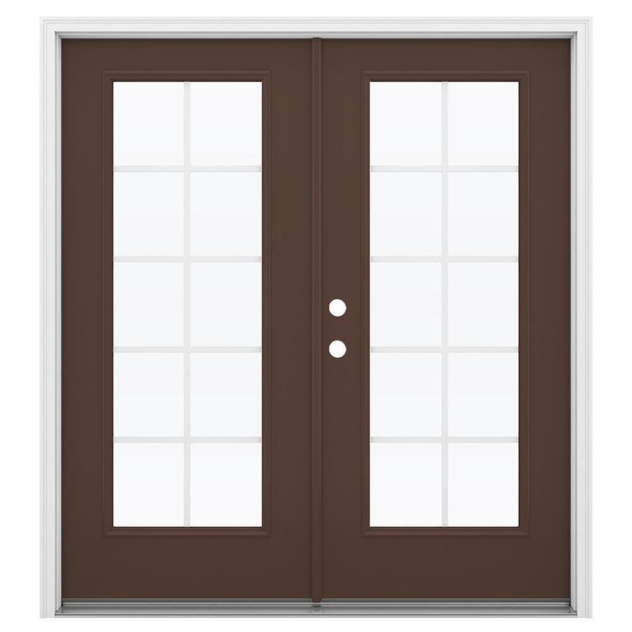 ReliaBilt 71.5-in Grilles Between the Glass Chococate Fiberglass French Inswing Patio Door