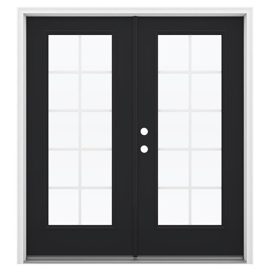 ReliaBilt 71.5-in Grilles Between the Glass Peppercorn Fiberglass French Inswing Patio Door