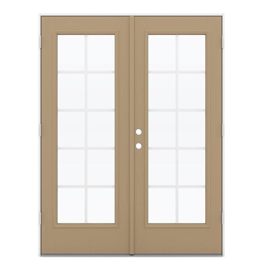 ReliaBilt 59.5-in Grilles Between the Glass Warm Wheat Fiberglass French Outswing Patio Door