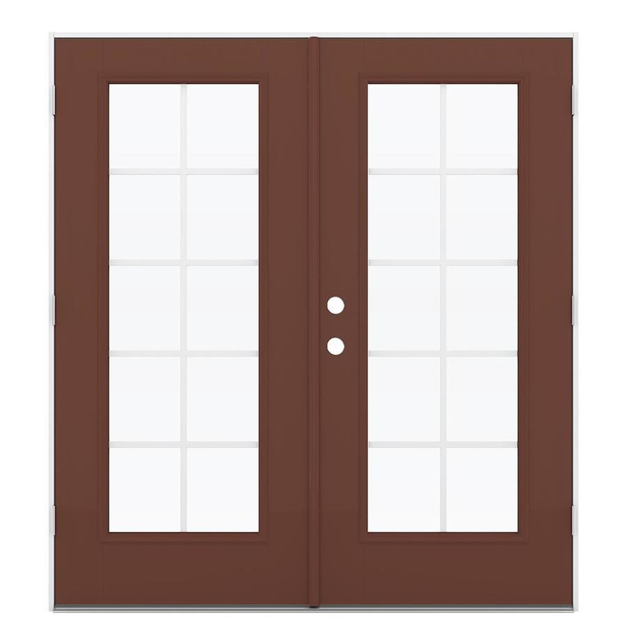 ReliaBilt 71.5-in Grilles Between the Glass Foxtail Fiberglass French Outswing Patio Door