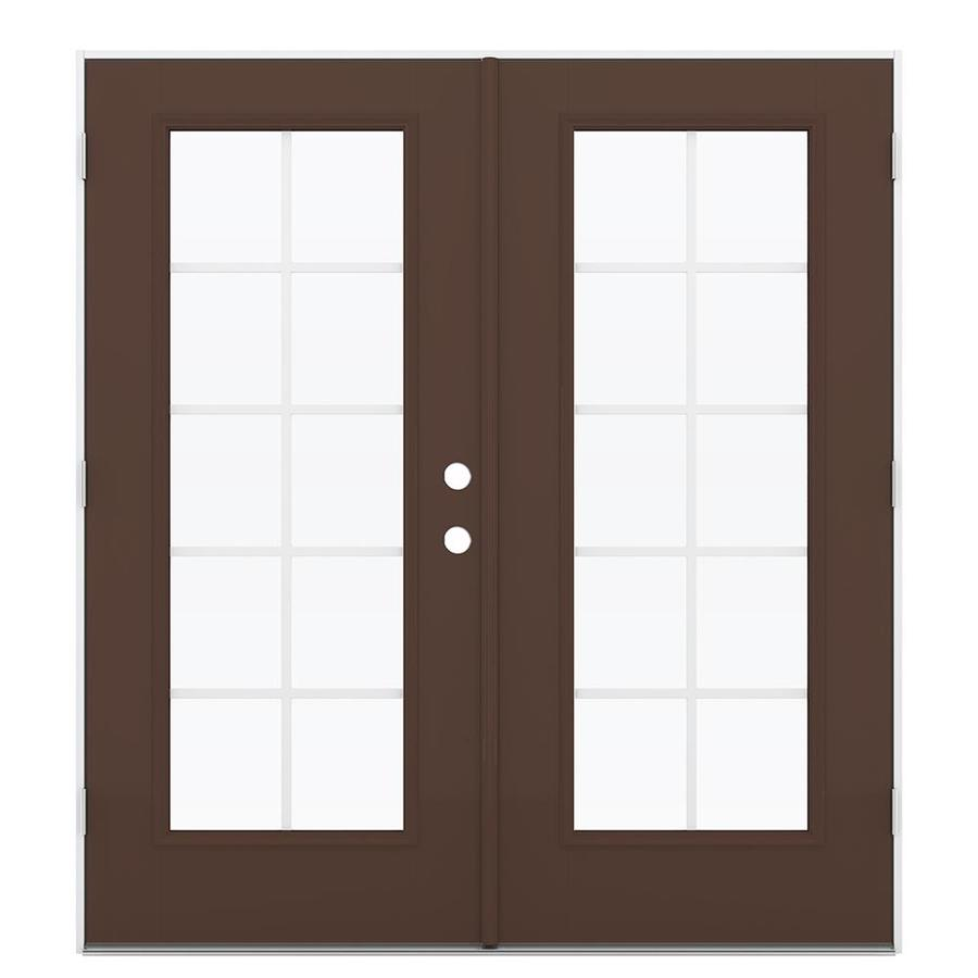 ReliaBilt 71.5-in Grilles Between the Glass Chococate Fiberglass French Outswing Patio Door