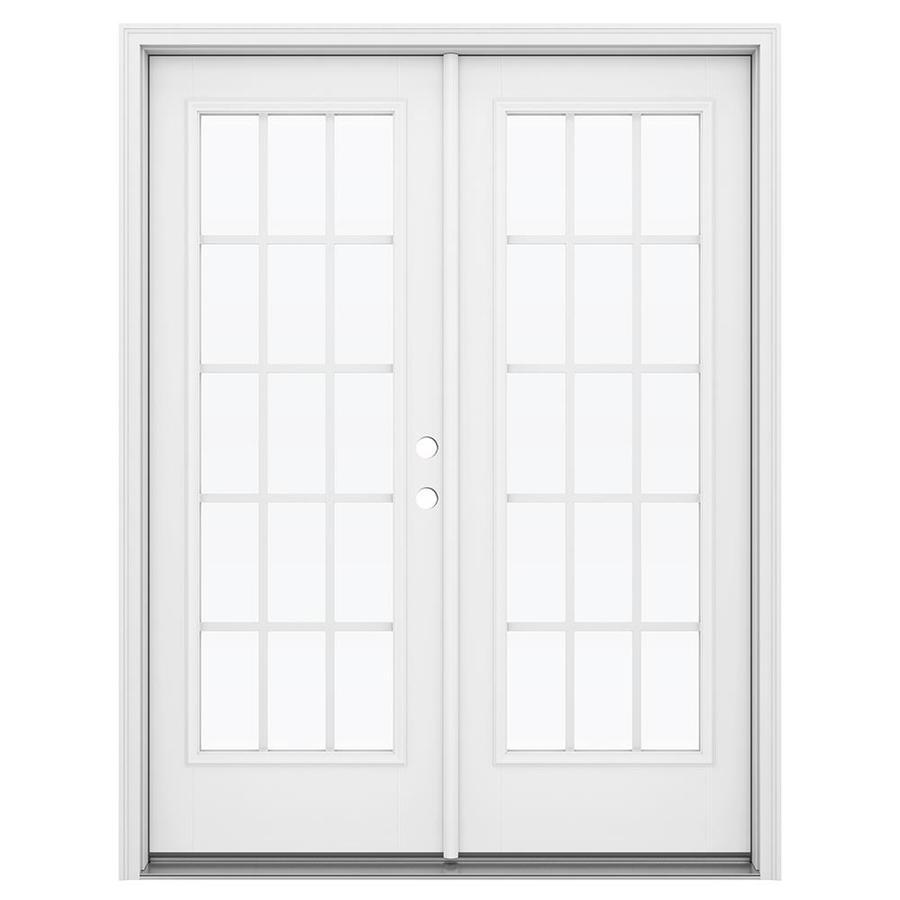 ReliaBilt 59.5-in 15-Lite Grilles Between the Glass Primed Fiberglass French Inswing Patio Door