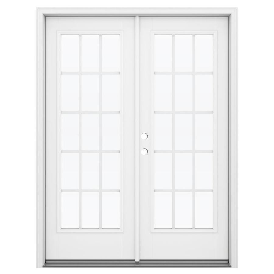 ReliaBilt 59.5-in 15-Lite Grilles Between the Glass Arctic White Fiberglass French Inswing Patio Door