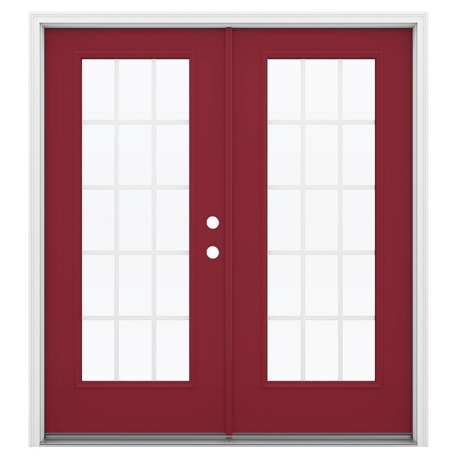 ReliaBilt 71.5-in 15-Lite Grilles Between the Glass Roma Red Fiberglass French Inswing Patio Door