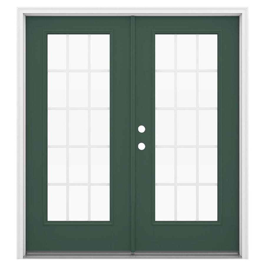 ReliaBilt 71.5-in 15-Lite Grilles Between the Glass Evergreen Fiberglass French Inswing Patio Door
