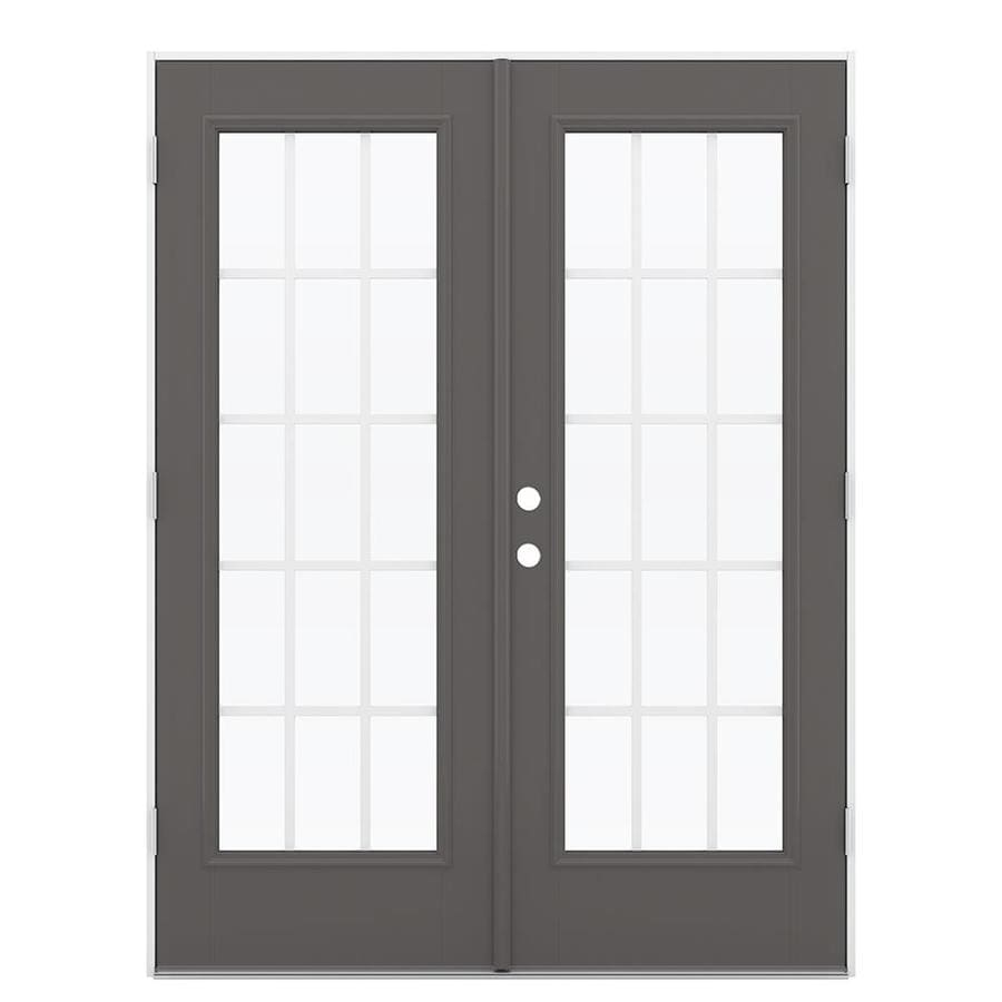 ReliaBilt 59.5-in 15-Lite Grilles Between the Glass Timber Gray Fiberglass French Outswing Patio Door
