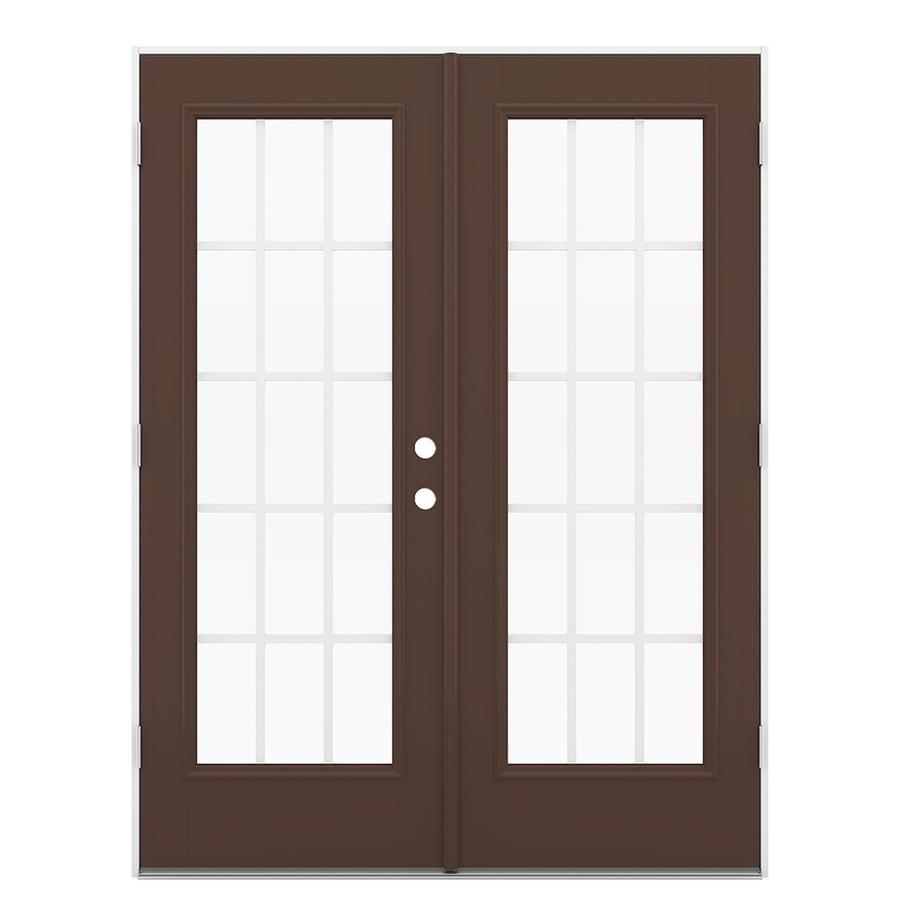 ReliaBilt 59.5-in 15-Lite Grilles Between the Glass Chococate Fiberglass French Outswing Patio Door