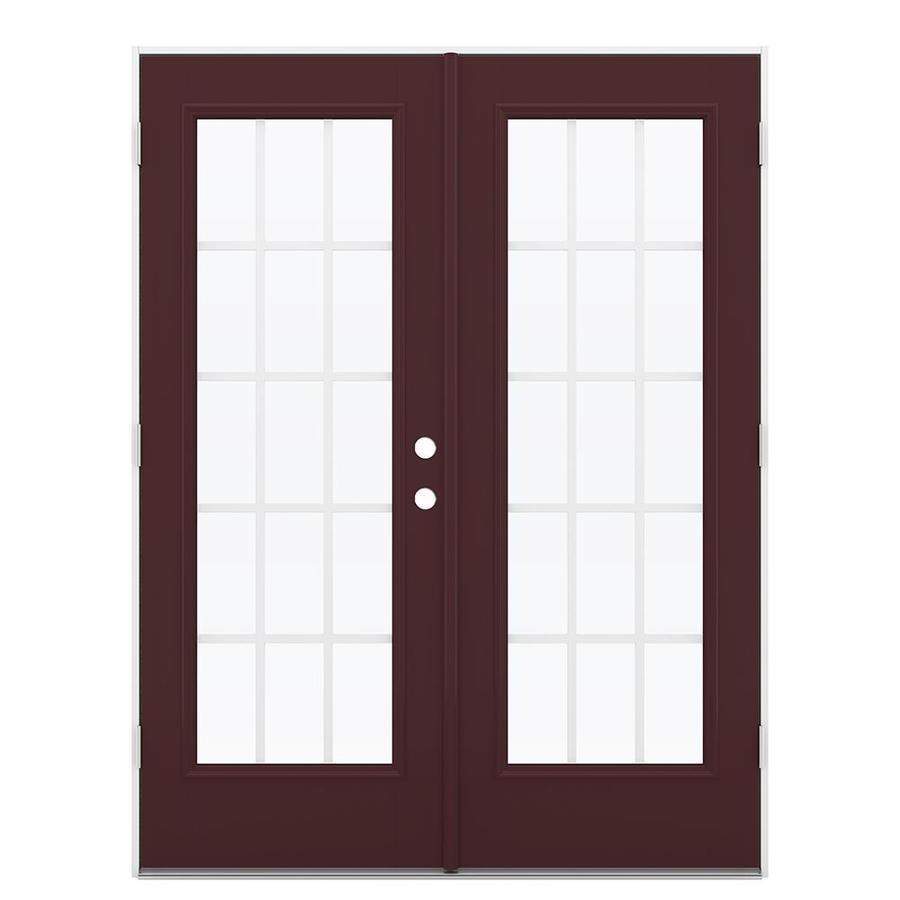 ReliaBilt 59.5-in 15-Lite Grilles Between the Glass Currant Fiberglass French Outswing Patio Door