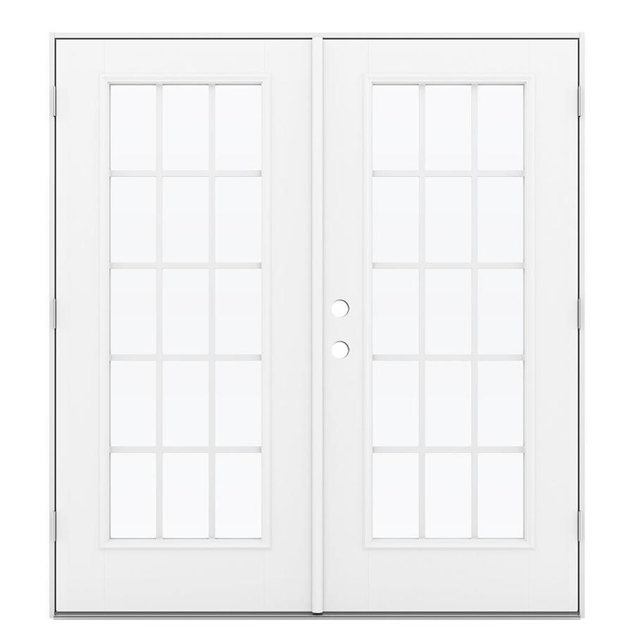 ReliaBilt 71.5-in 15-Lite Grilles Between the Glass Arctic White Fiberglass French Outswing Patio Door