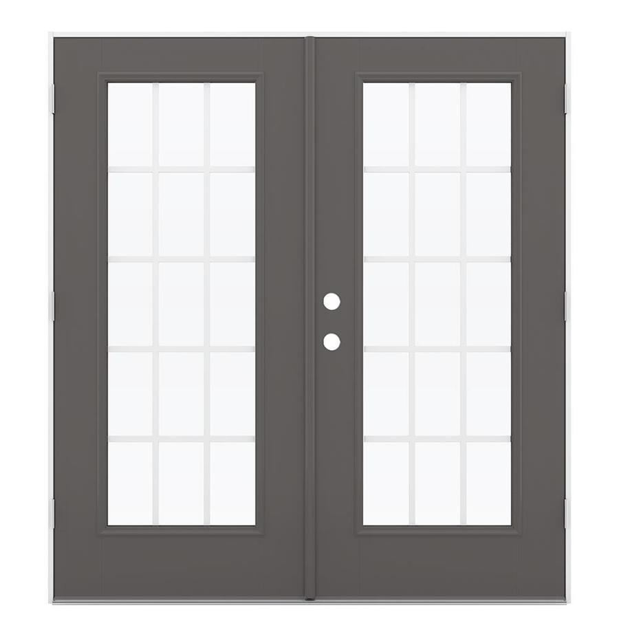 ReliaBilt 71.5-in 15-Lite Grilles Between the Glass Timber Gray Fiberglass French Outswing Patio Door