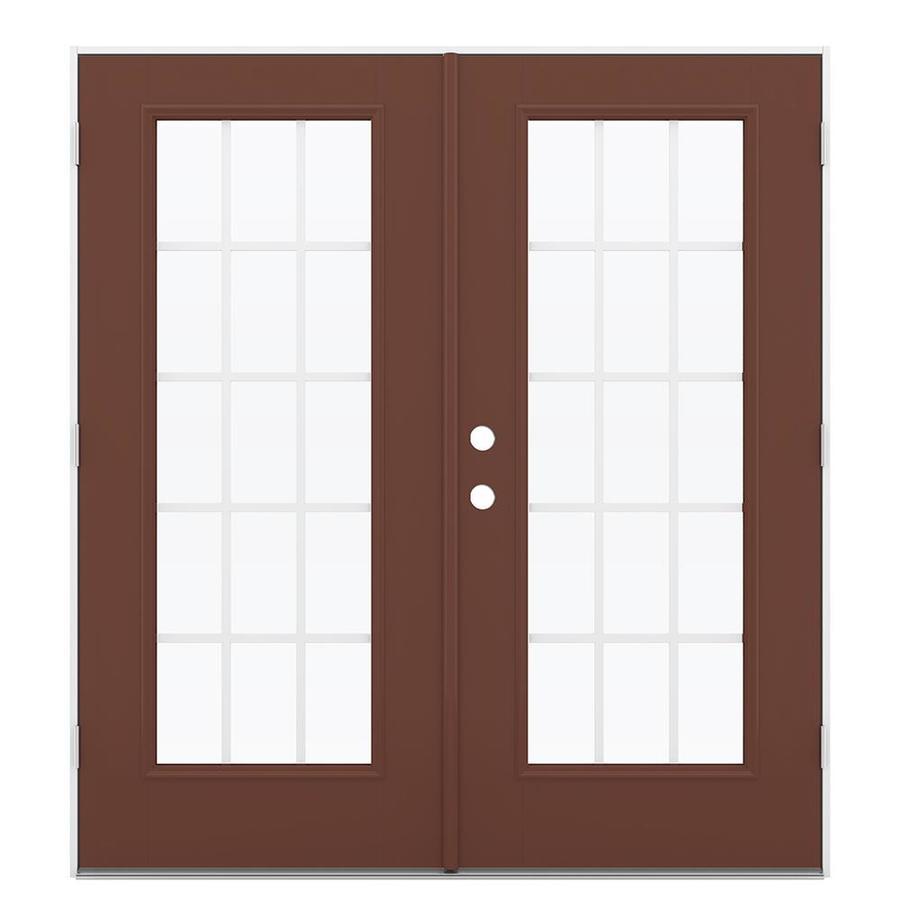 ReliaBilt 71.5-in 15-Lite Grilles Between the Glass Foxtail Fiberglass French Outswing Patio Door