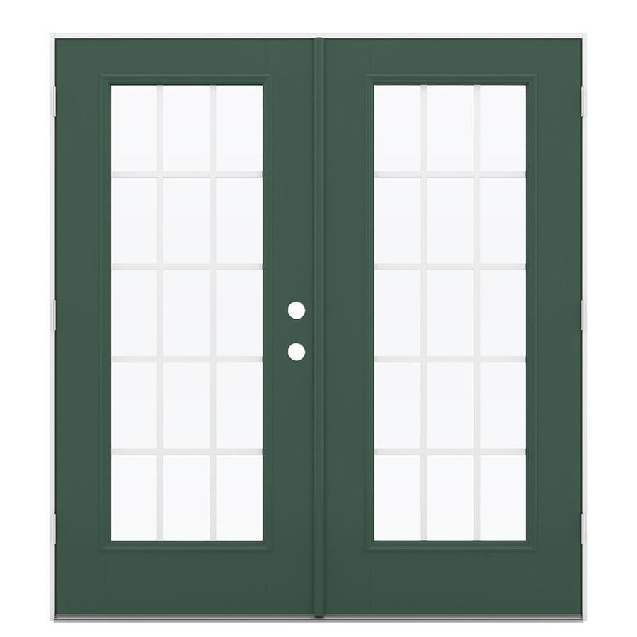 ReliaBilt 71.5-in 15-Lite Grilles Between the Glass Evergreen Fiberglass French Outswing Patio Door