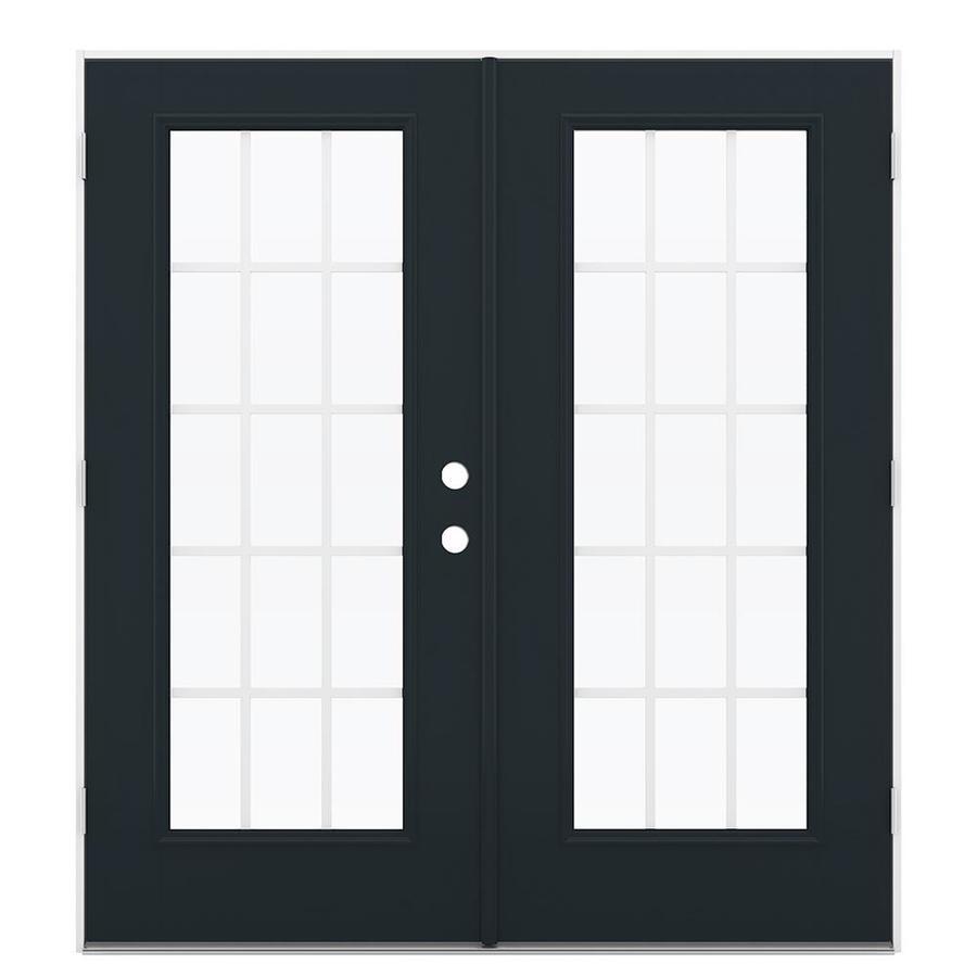 ReliaBilt 71.5-in 15-Lite Grilles Between the Glass Eclipse Fiberglass French Outswing Patio Door
