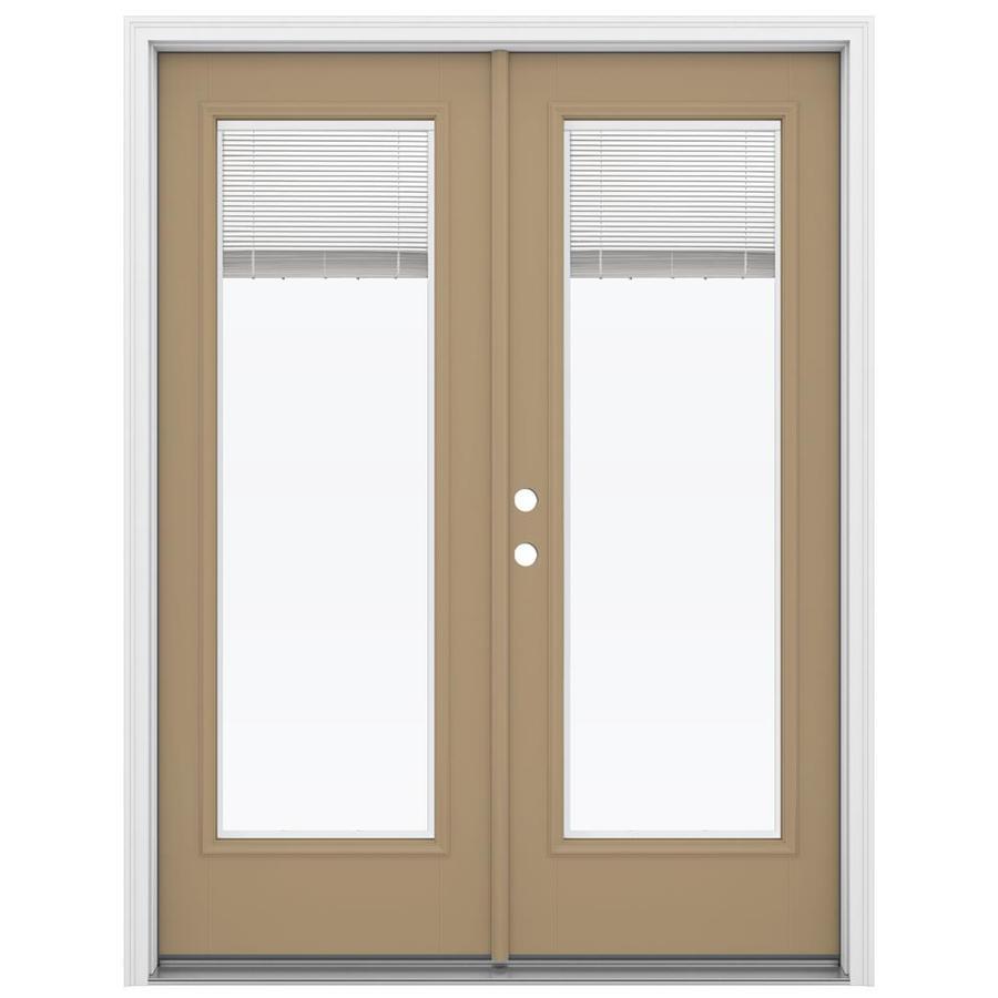 ReliaBilt 59.5-in Blinds Between the Glass Warm Wheat Fiberglass French Inswing Patio Door