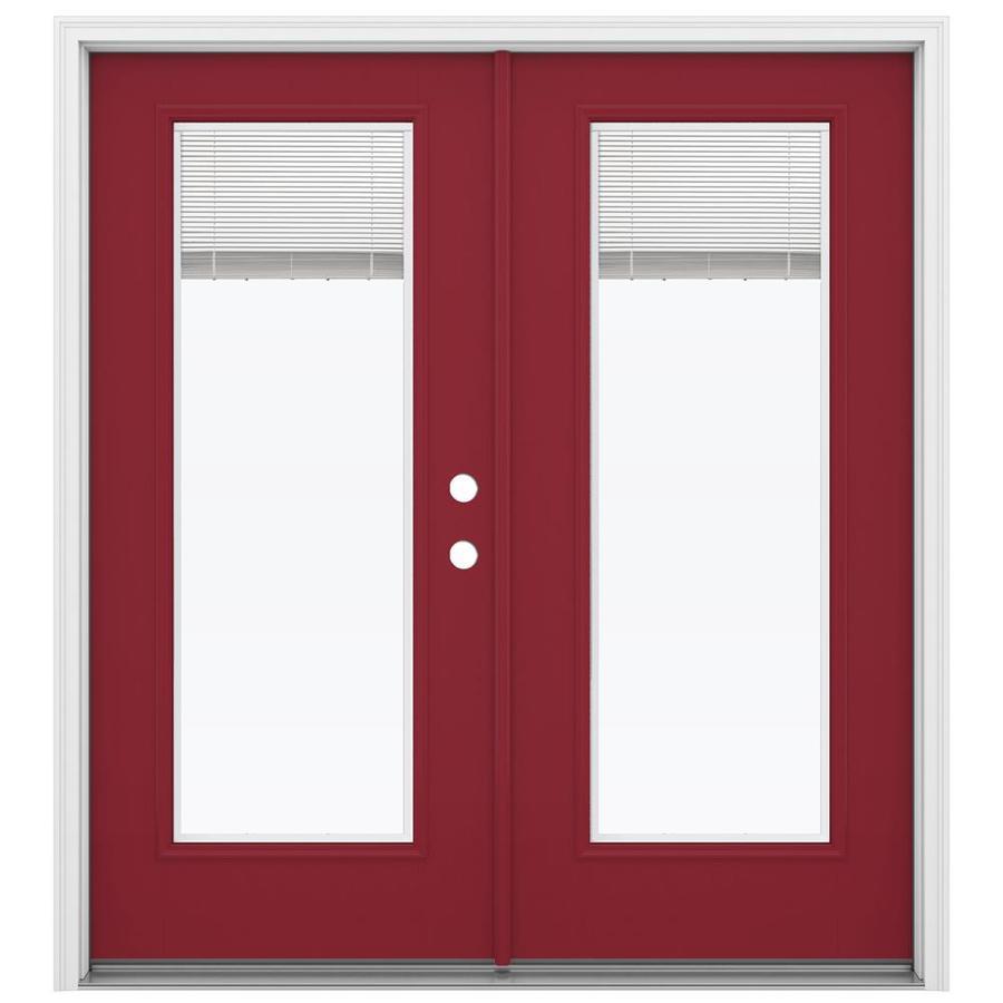 ReliaBilt 71.5-in Blinds Between the Glass Roma Red Fiberglass French Inswing Patio Door