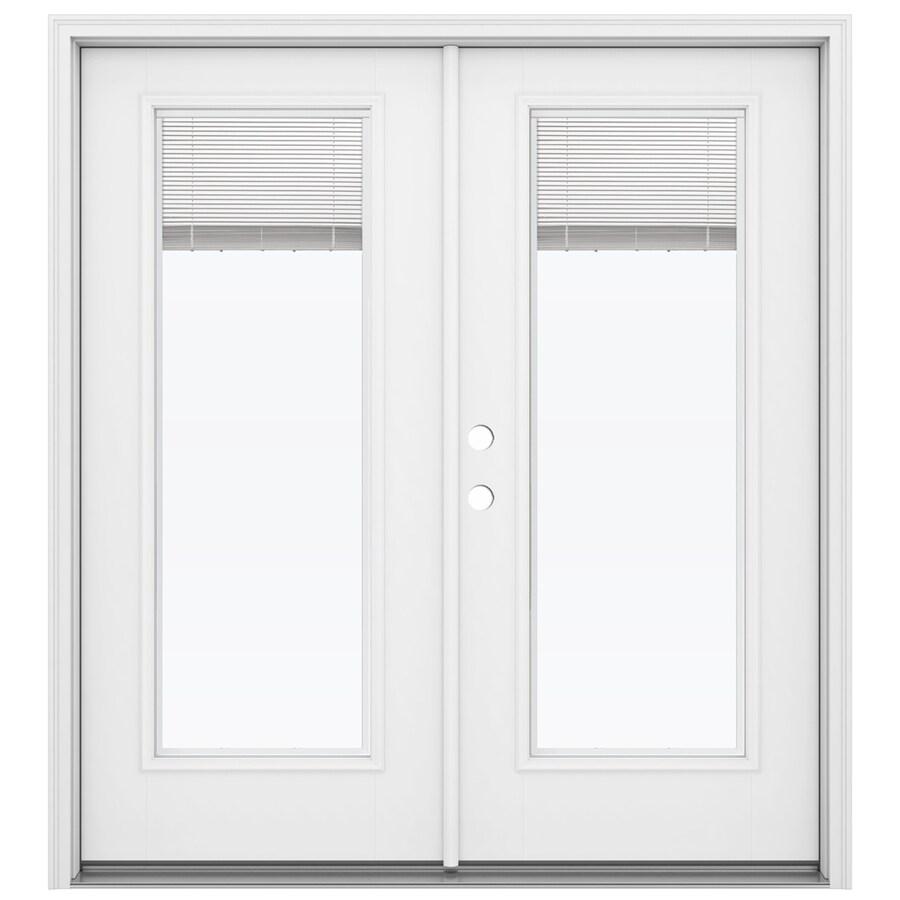 ReliaBilt 71.5-in Blinds Between the Glass Primed Fiberglass French Inswing Patio Door