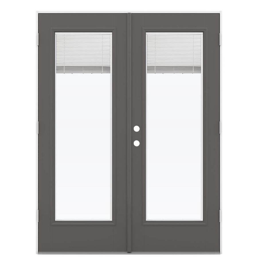ReliaBilt 59.5-in Blinds Between the Glass Timber Gray Fiberglass French Outswing Patio Door
