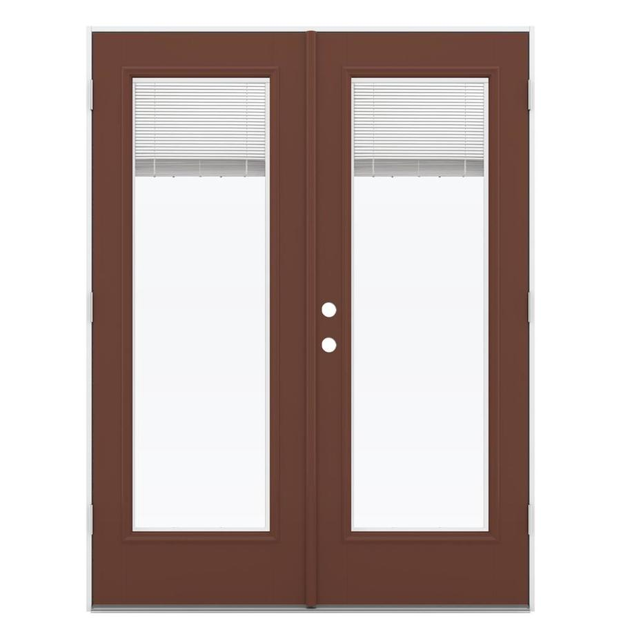 ReliaBilt 59.5-in Blinds Between the Glass Foxtail Fiberglass French Outswing Patio Door