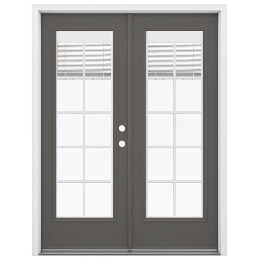 ReliaBilt 59.5-in Blinds Between the Glass Timber Gray Fiberglass French Inswing Patio Door