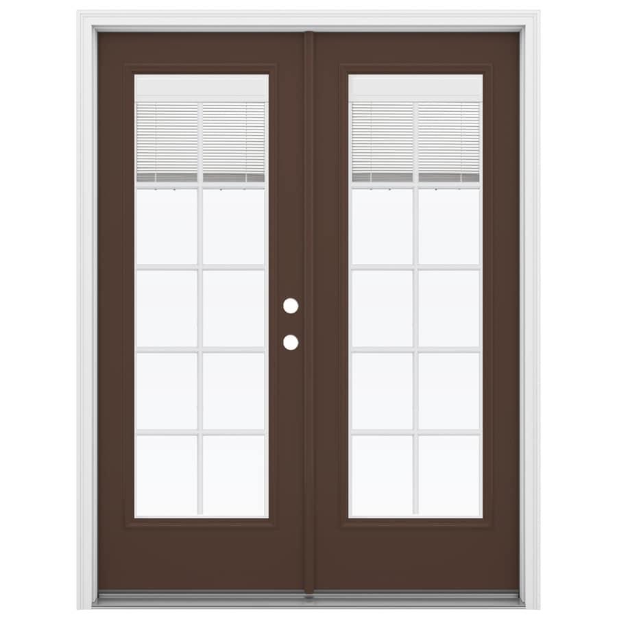ReliaBilt 59.5-in Blinds Between the Glass Chococate Fiberglass French Inswing Patio Door