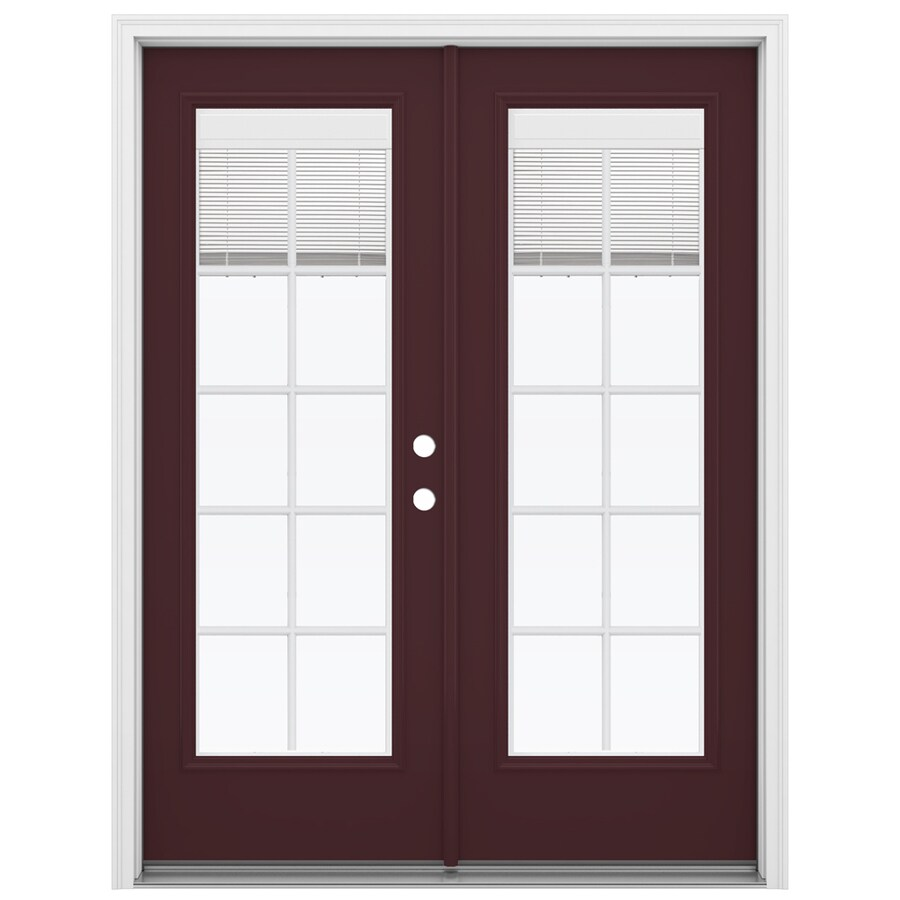 ReliaBilt 59.5-in Blinds Between the Glass Currant Fiberglass French Inswing Patio Door