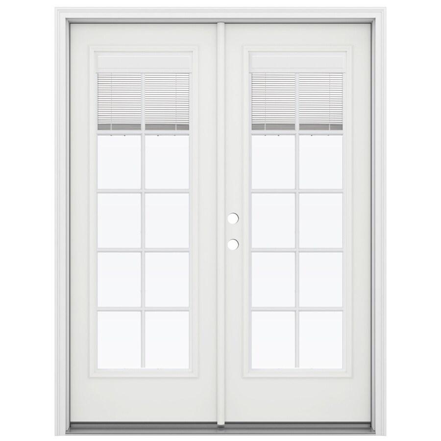 ReliaBilt 59.5-in Blinds Between the Glass Arctic White Fiberglass French Inswing Patio Door