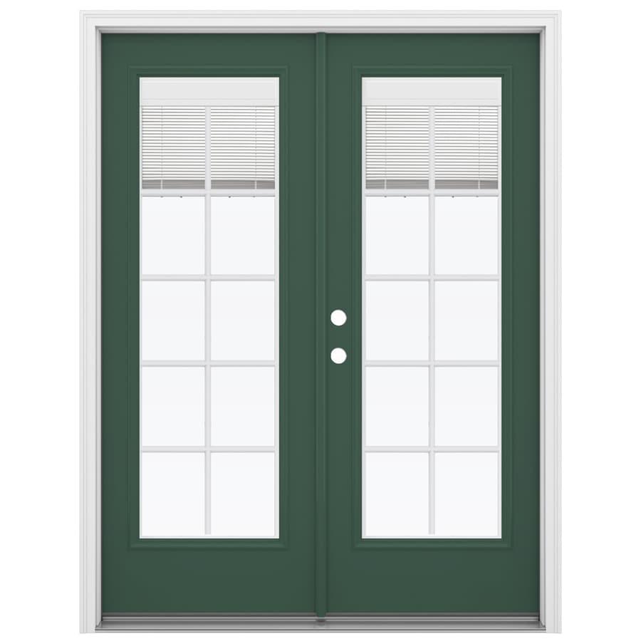 ReliaBilt 59.5-in Blinds Between the Glass Evergreen Fiberglass French Inswing Patio Door