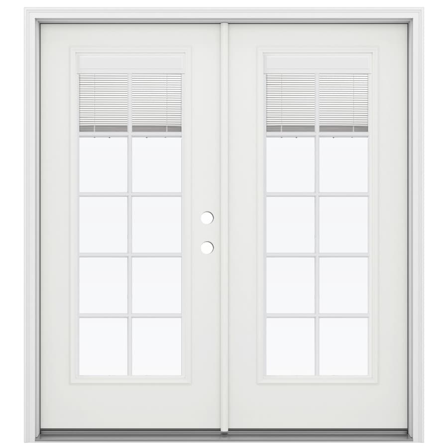ReliaBilt 71.5-in Blinds Between the Glass Arctic White Fiberglass French Inswing Patio Door