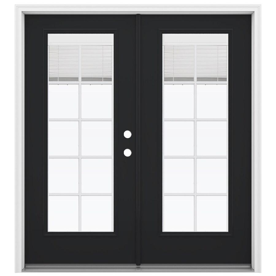 ReliaBilt 71.5-in Blinds Between the Glass Peppercorn Fiberglass French Inswing Patio Door