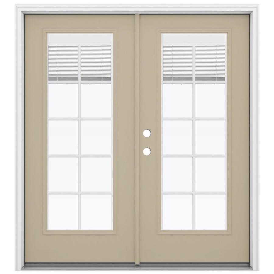 ReliaBilt 71.5-in Blinds Between the Glass Sandy Shore Fiberglass French Inswing Patio Door