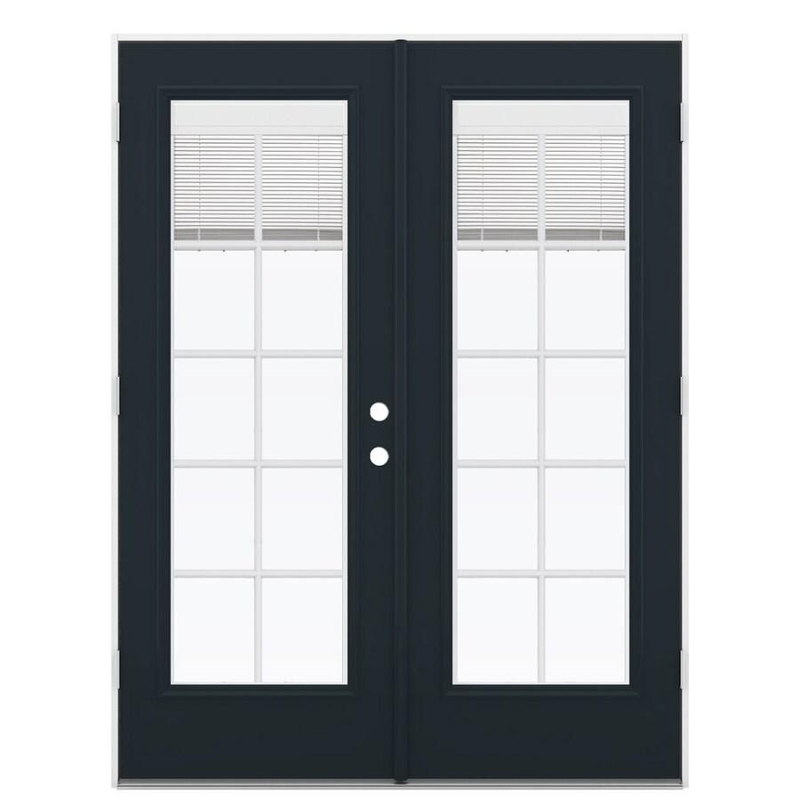 ReliaBilt 59.5-in Blinds Between the Glass Eclipse Fiberglass French Outswing Patio Door