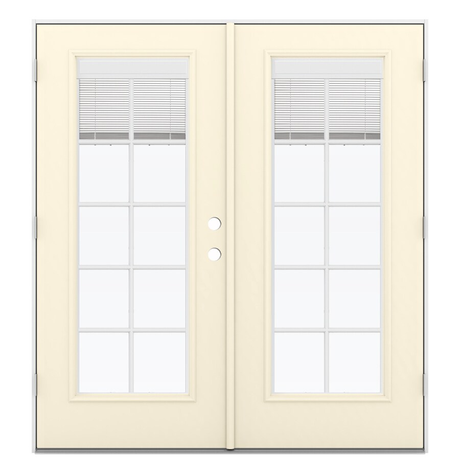 ReliaBilt 71.5-in Blinds Between the Glass Bisque Fiberglass French Outswing Patio Door