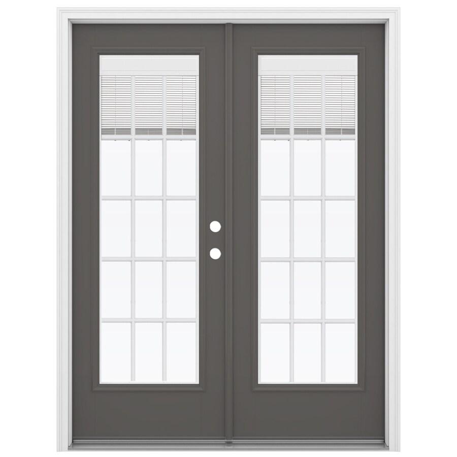 ReliaBilt 59.5-in Blinds Between the Glass Timber Gray Fiberglass French Inswing Patio Door