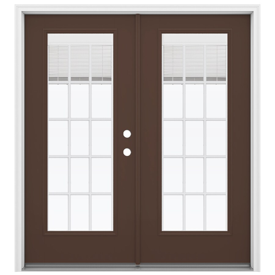 ReliaBilt 71.5-in Blinds Between the Glass Chococate Fiberglass French Inswing Patio Door