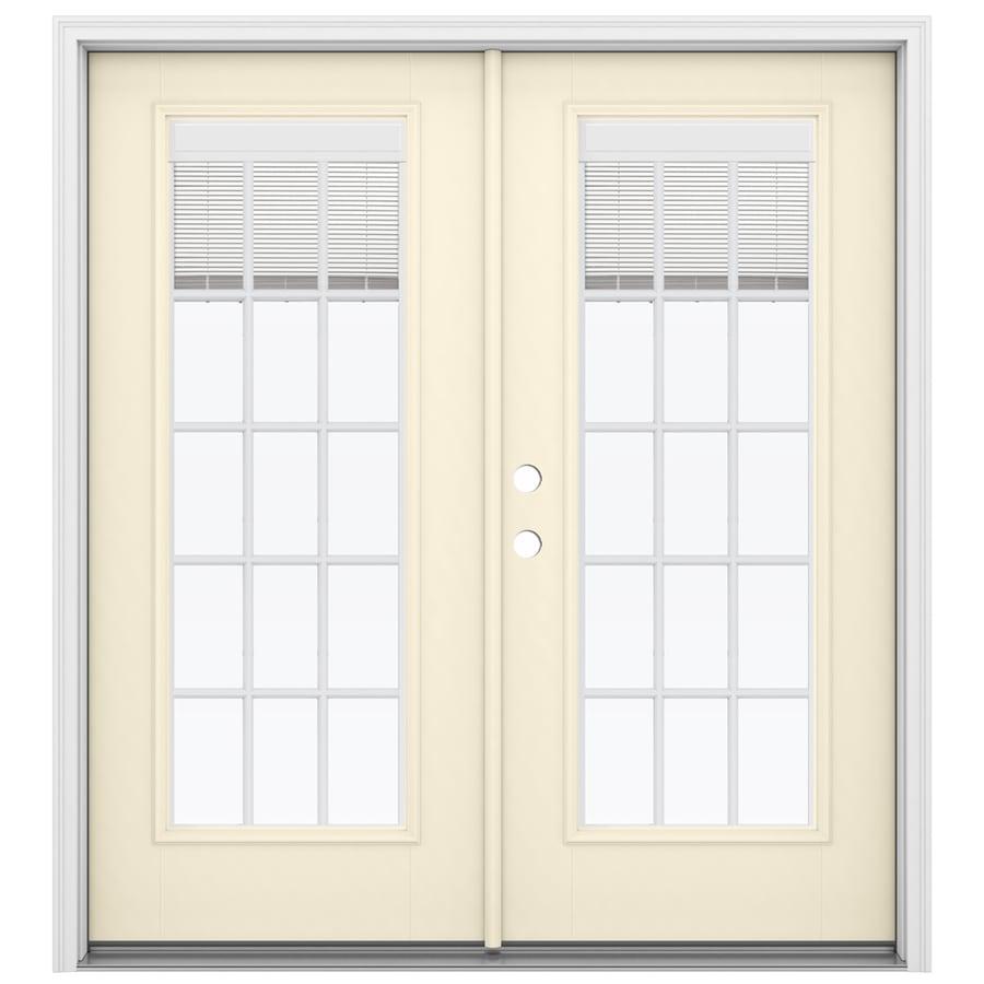 ReliaBilt 71.5-in Blinds Between the Glass Bisque Fiberglass French Inswing Patio Door