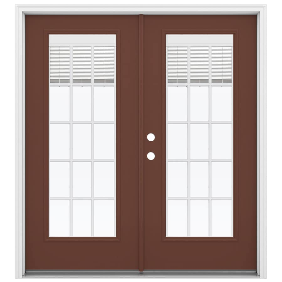 ReliaBilt 71.5-in Blinds Between the Glass Foxtail Fiberglass French Inswing Patio Door