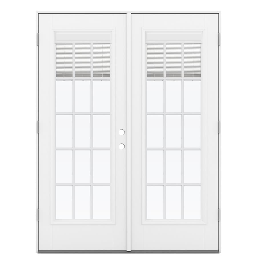 ReliaBilt 59.5-in Blinds Between the Glass Primed Fiberglass French Outswing Patio Door