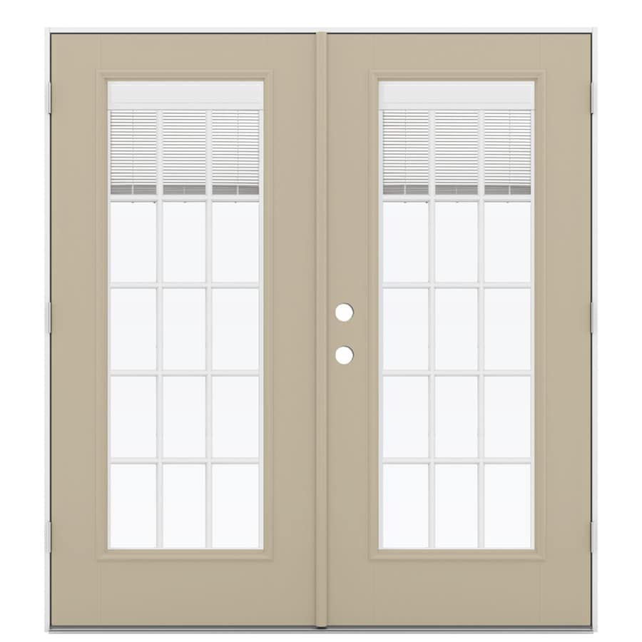 ReliaBilt 71.5-in Blinds Between the Glass Sandy Shore Fiberglass French Outswing Patio Door