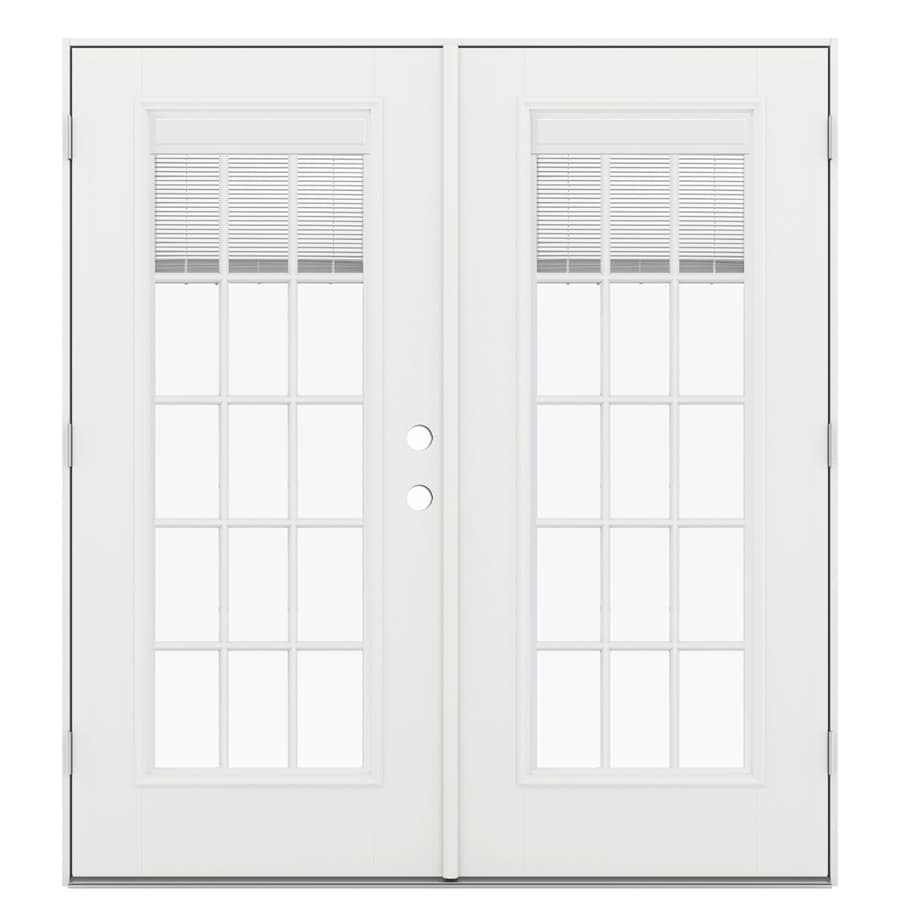 ReliaBilt 71.5-in Blinds Between the Glass Arctic White Fiberglass French Outswing Patio Door