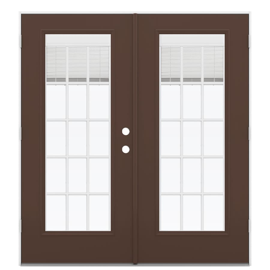 ReliaBilt 71.5-in Blinds Between the Glass Chococate Fiberglass French Outswing Patio Door