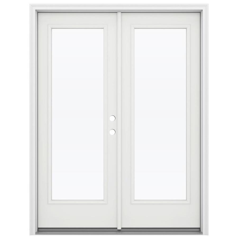 ReliaBilt 59.5-in 1-Lite Glass Arctic White Steel French Inswing Patio Door