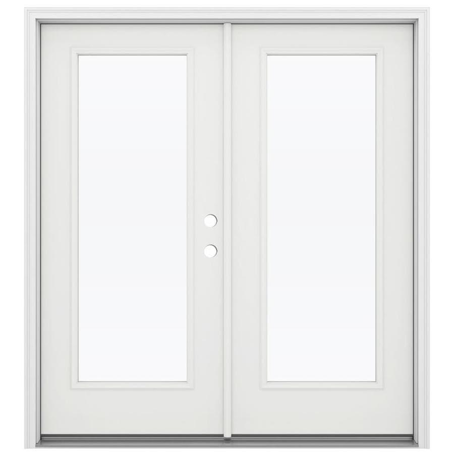 ReliaBilt 71.5-in 1-Lite Glass Arctic White Steel French Inswing Patio Door