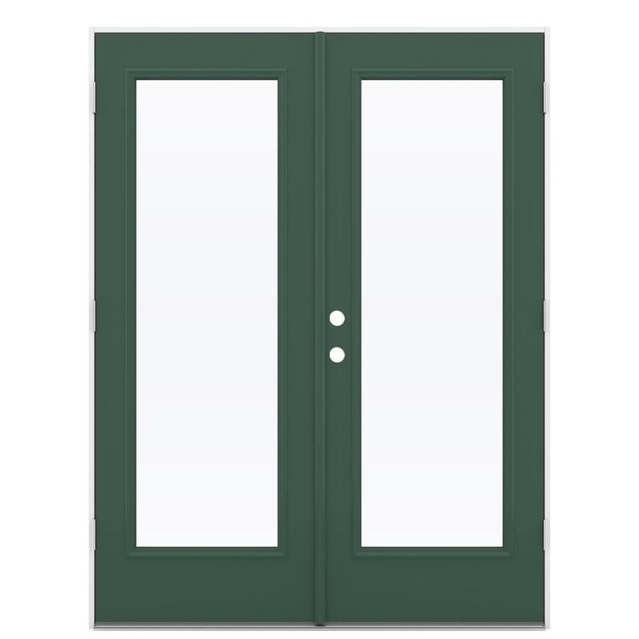 ReliaBilt 59.5-in 1-Lite Glass Evergreen Steel French Outswing Patio Door