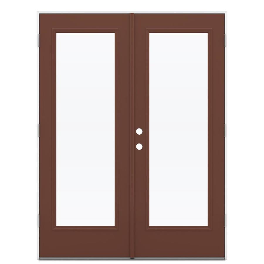ReliaBilt 59.5-in 1-Lite Glass Foxtail Steel French Outswing Patio Door