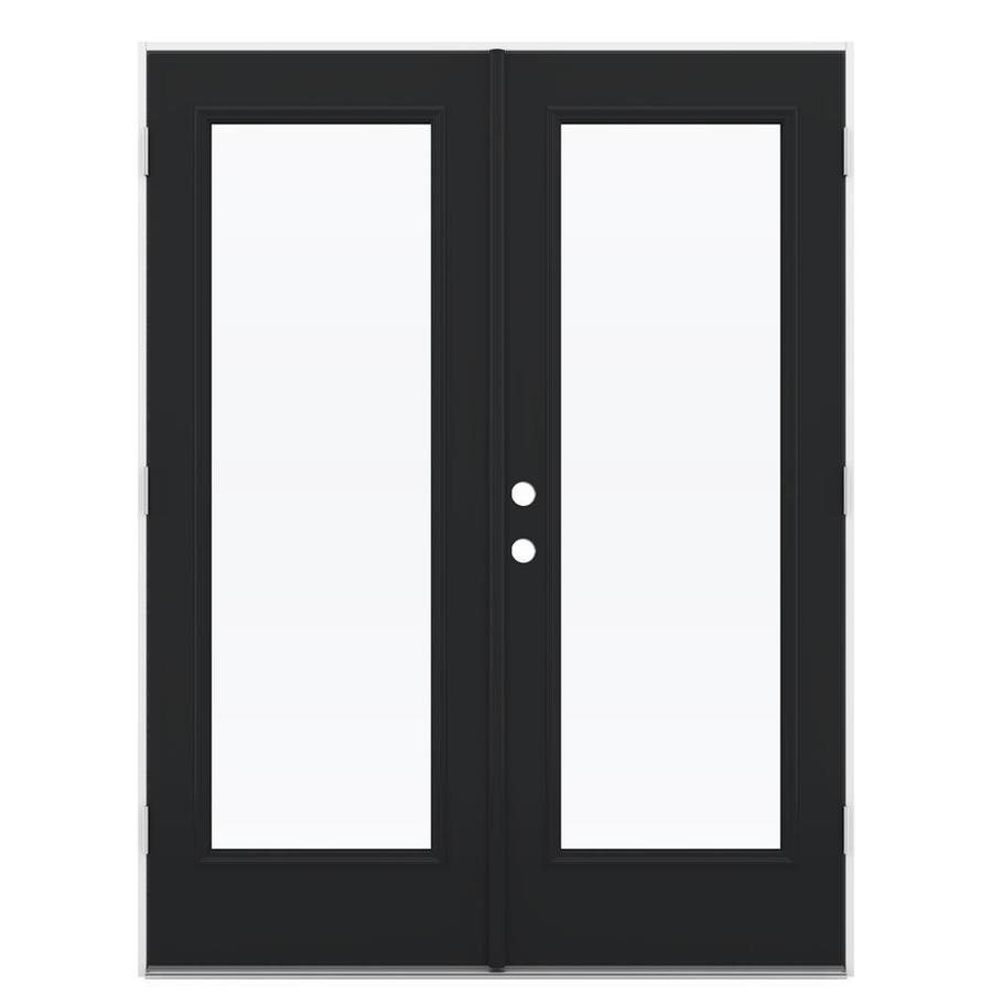 ReliaBilt 59.5-in 1-Lite Glass Peppercorn Steel French Outswing Patio Door