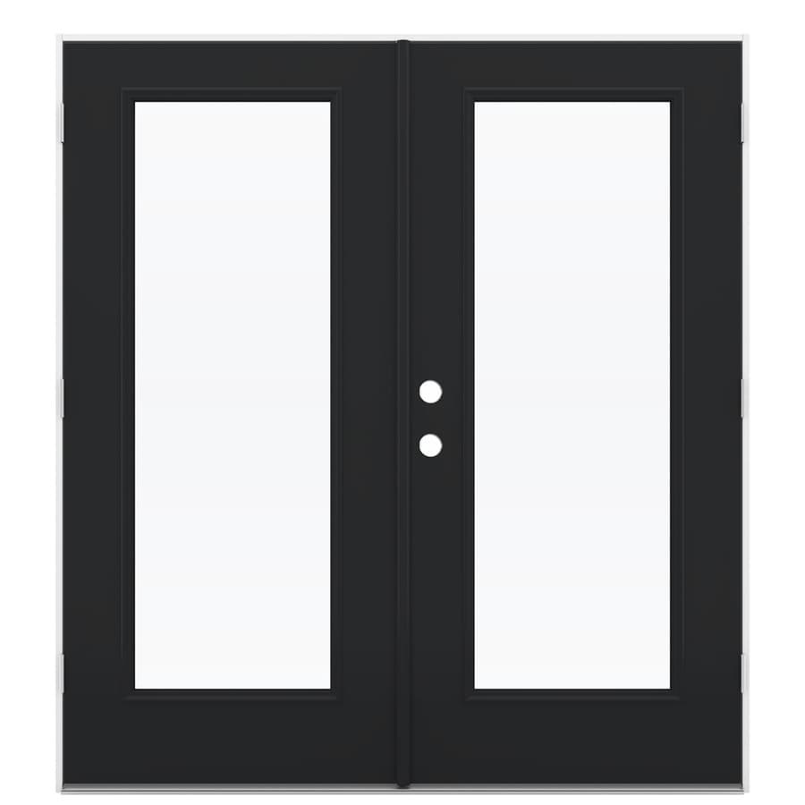 ReliaBilt 71.5-in 1-Lite Glass Peppercorn Steel French Outswing Patio Door