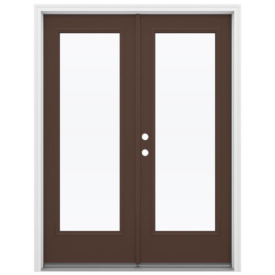ReliaBilt 59.5-in 1-Lite Glass Chococate Steel French Inswing Patio Door